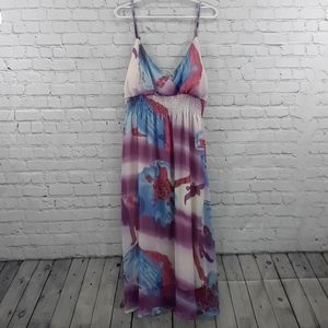 She's Cool Summer Dress Size 3X Sheer Floral